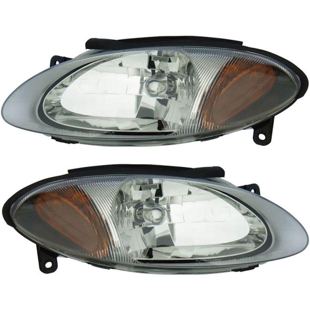 Ford Escort Headlight Assembly Pair