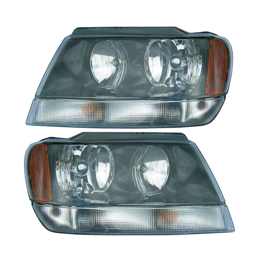 2002 jeep grand cherokee headlight assembly pair pair of headlight assemblies with clear park. Black Bedroom Furniture Sets. Home Design Ideas