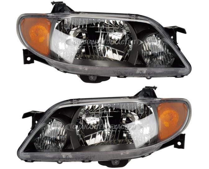 2002 Mazda Protege Headlight Assembly Pair Pair Of Headlight Assemblies   Metal Coat Bezel 16