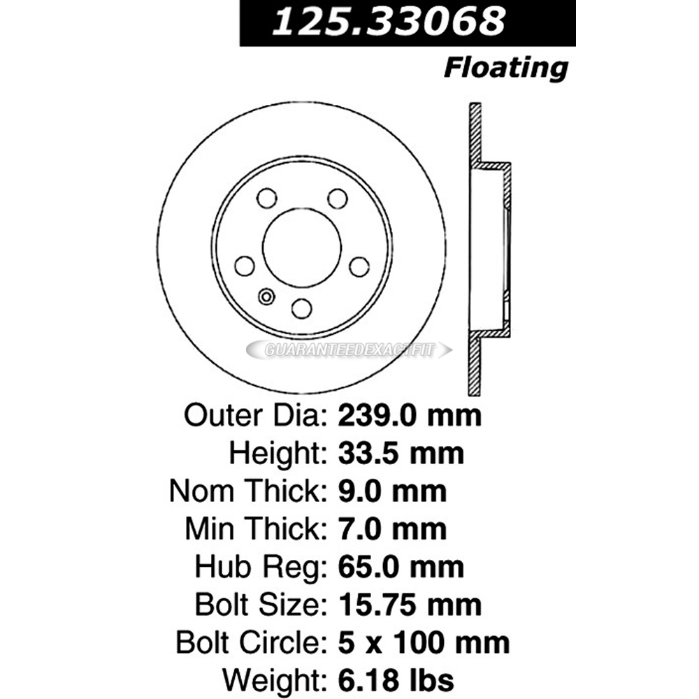 Centric Parts 125.33068 Brake Rotor