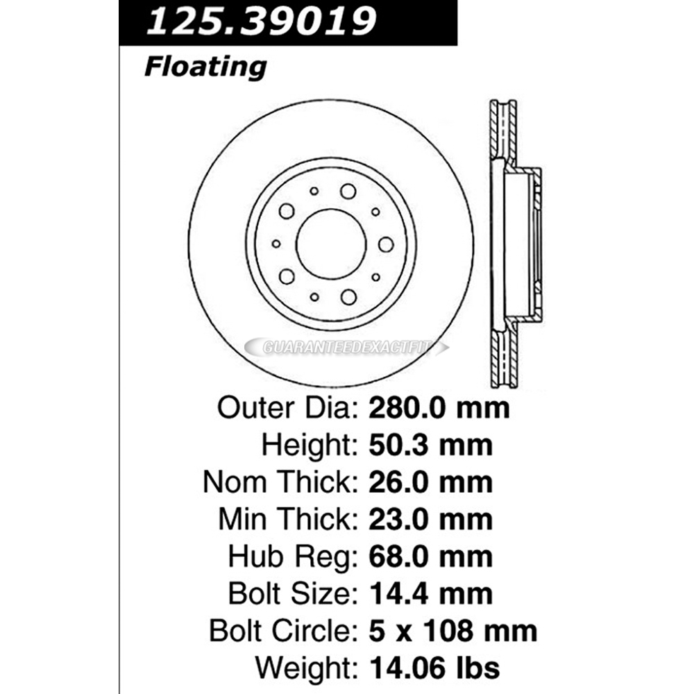 Centric Parts 125.39019 Brake Rotor