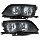 Headlight Assy Pair - i and xi Models - Halogen - Black Trim - Prod. Date From 09-01-01