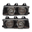 Pair of Headlight Assemblies - Halogen With Frame