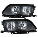 Pair of Headlight Assemblies - Halogen with Black Trim - i and xi Models from Prod. Date 09-01-01