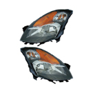 Pair of Headlight Assemblies - Halogen with Black Bezel - Sedan Models