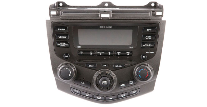 2003 to 2007 Honda Accord AM-FM and MP3 6 cd radio with face codes 7BX0 and 7BX1.