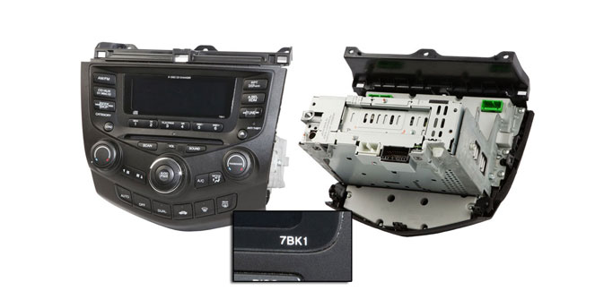 2007 Honda Accord AM-FM 6 CD radio with face code 7BK2.