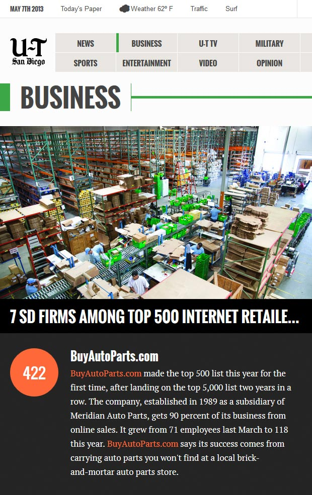 BuyAutoParts.com Internet Retailer's Top 500 Guide
