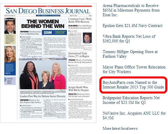 San Diego Business Journal BuyAutoParts.com Internet Retailer's Top 500 Guide