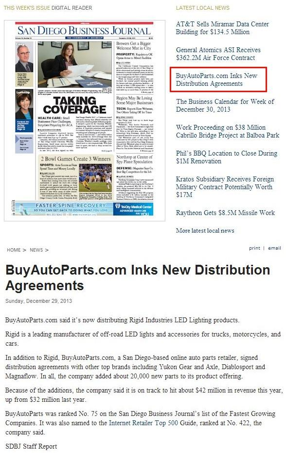 San Diego Business Journal BuyAutoParts.com Inks New Distribution Agreements