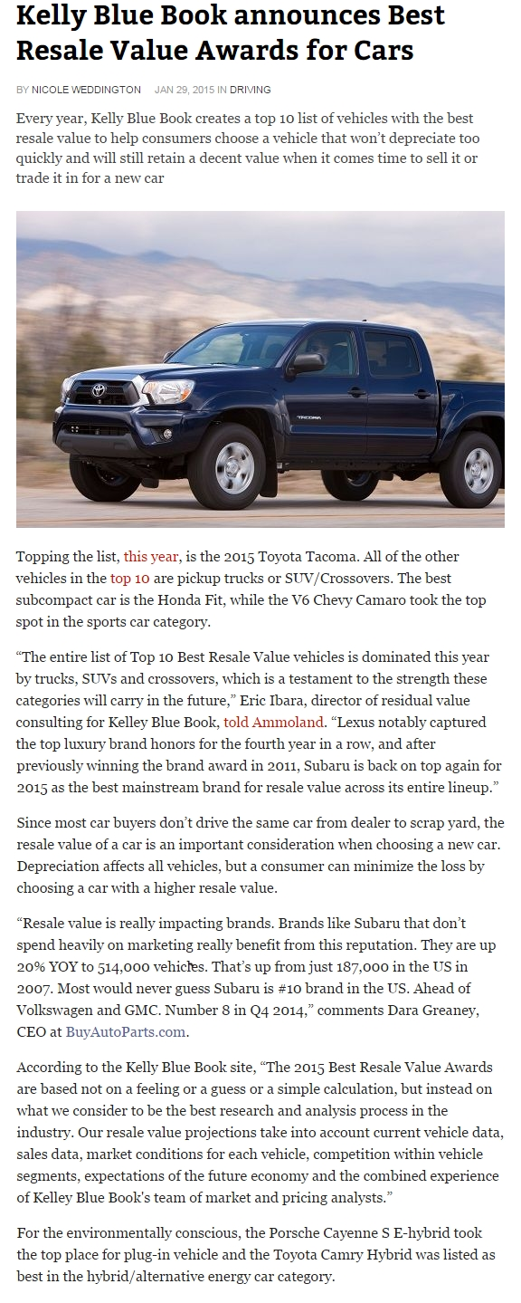 Digital Journal: Kelly Blue Book announces Best Resale Value Awards for Cars Full Article