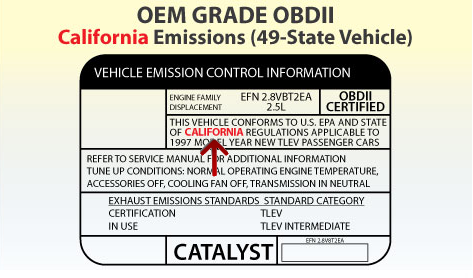 Example California Emissions Label