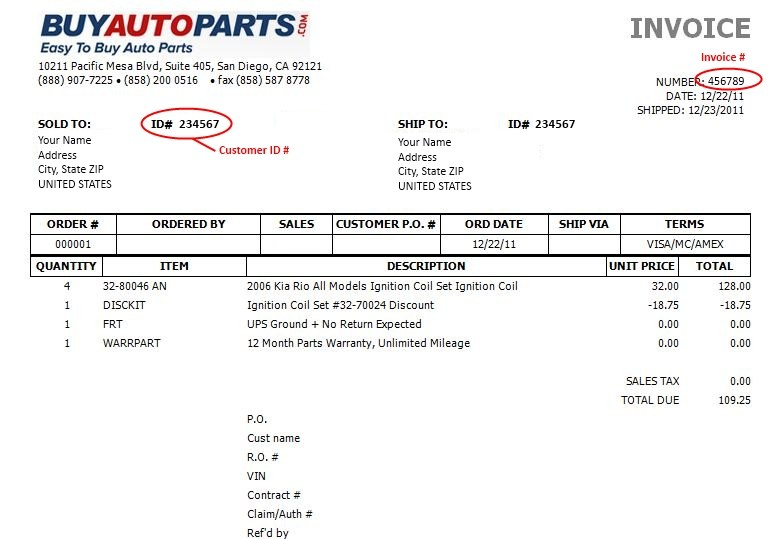 Auto Parts Invoice Geccetackletartsco - Auto parts invoice