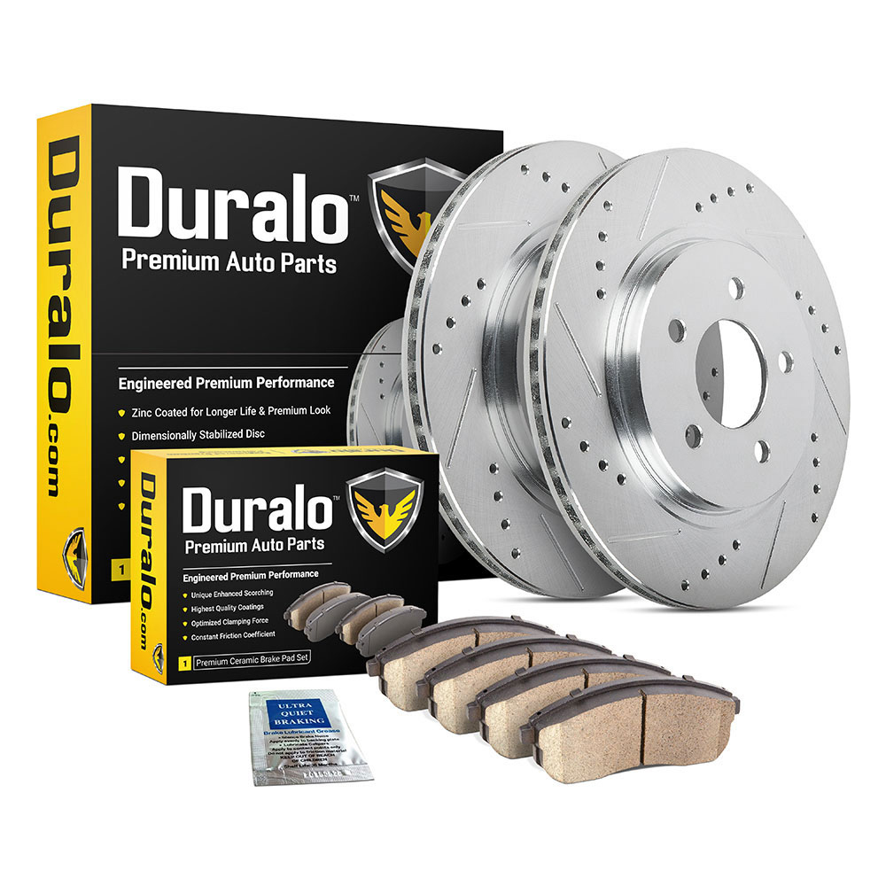 2004 Chevrolet Monte Carlo Premium Duralo Drilled and Slotted Rotors and Ceramic Pads - Front